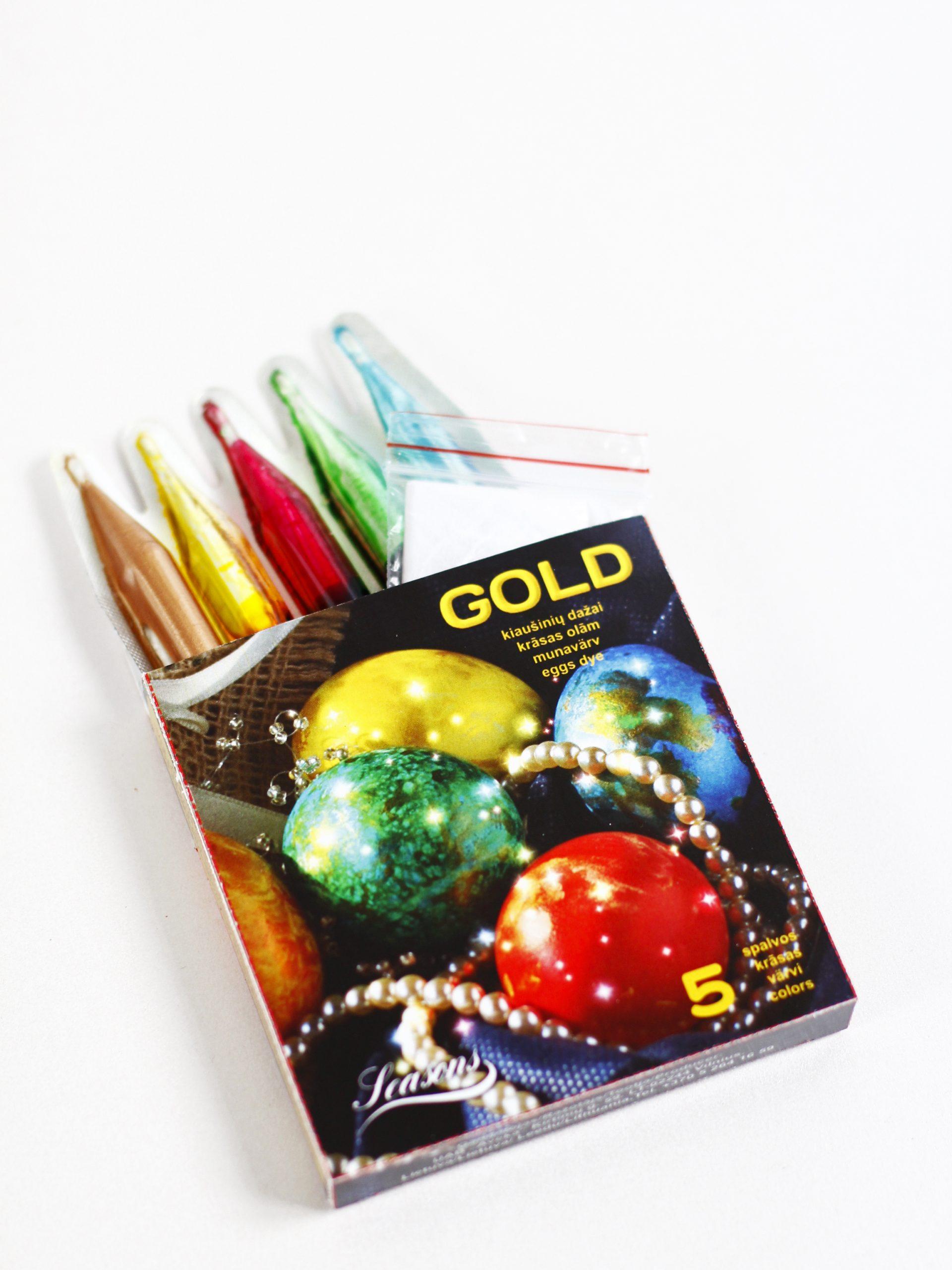 Perlamutriniai kiaušinių dažai GOLD 5 spalvos