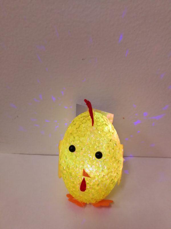 Šviečianti dekoracija kiaušinis-viščiukas 9.5cm