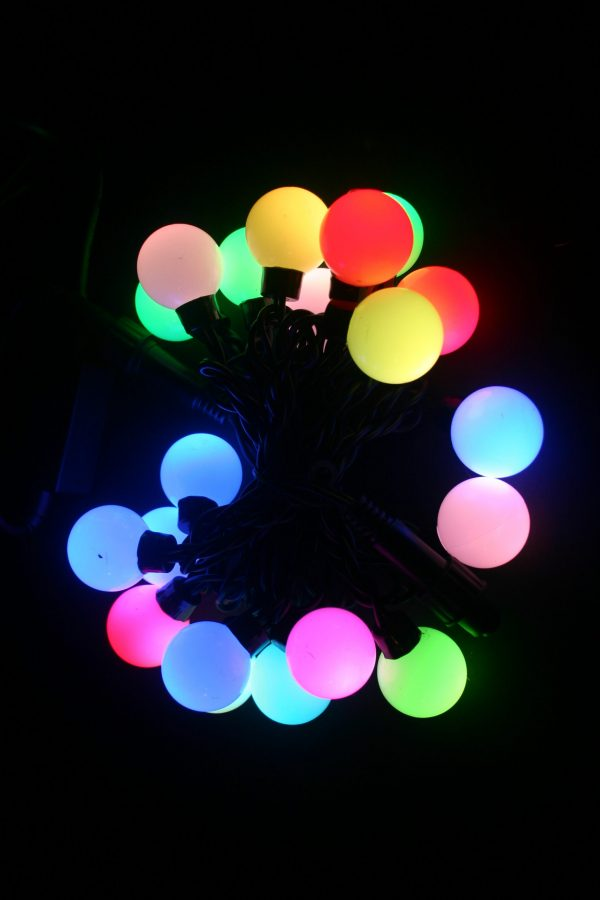 LED el. lauko girlianda, 20L, įvairiaspalvė, pastoviai šviečianti