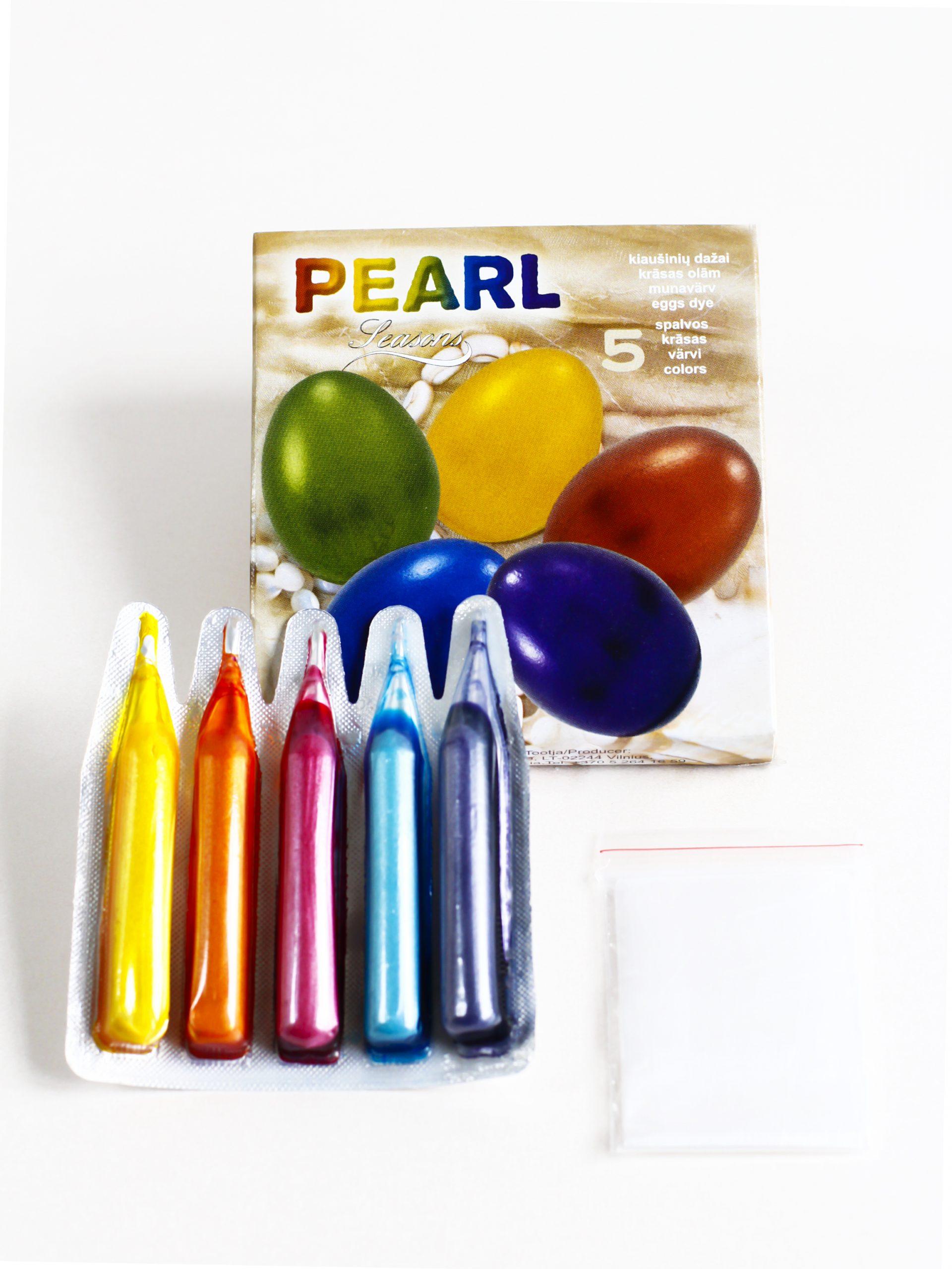 Perlamutriniai kiaušinių dažai PEARL 5 spalvos
